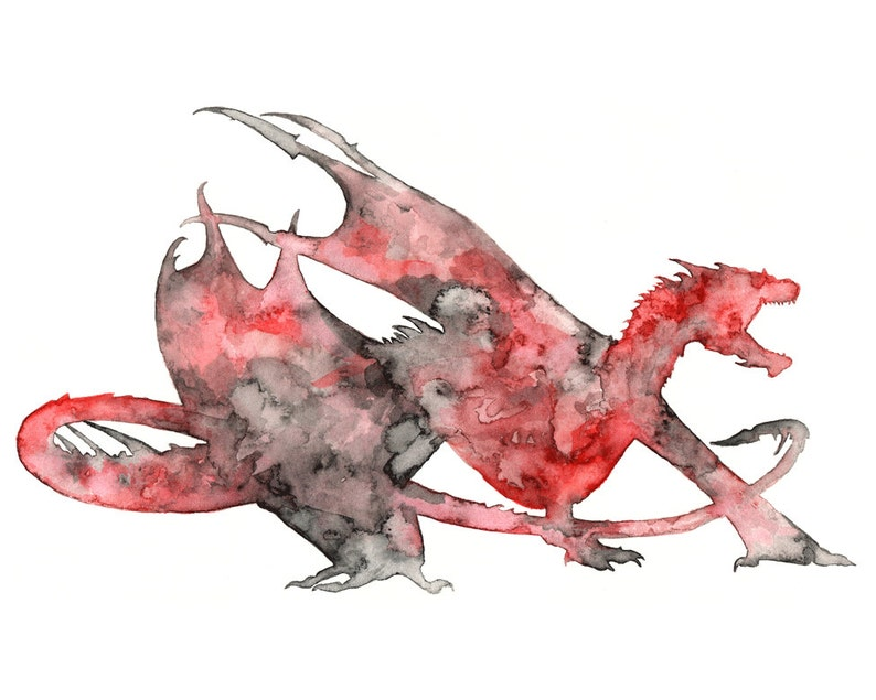 Dragon Silhouette  Dragon Painting Dragon Art Fantasy Art image 0