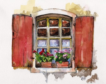 """Window Painting - Print from Original Watercolor Painting, """"Red Window"""", Garden Decor, Red Geraniums"""