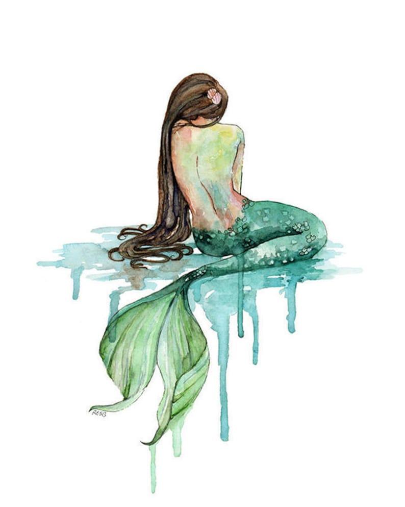 Mermaid Painting Watercolor Painting Mermaid Print Mermaid image 0