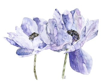 """Blue Flower Painting - Print from Original Watercolor Painting, """"Blue Anemone"""", Botanical, Blue Flower, Watercolor Flower"""