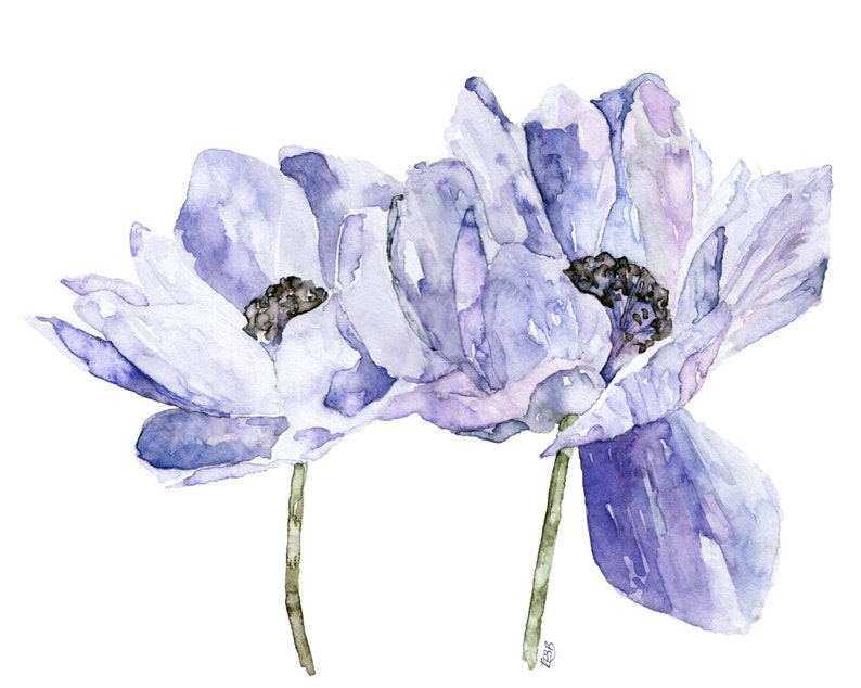 Blue Flower Painting  Print from Original Watercolor image 0