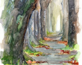 """Forest Path Painting - Print from Original Watercolor Painting, """"Sycamore Path"""", Woodland Decor, Woods, Forest, Watercolor Landscape"""