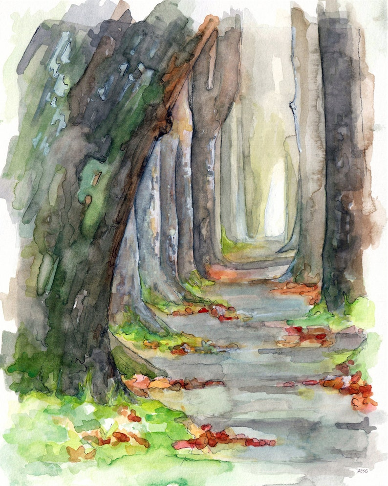 Forest Path Painting  Print from Original Watercolor image 0
