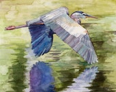 "Blue Heron Painting - Print from Original Watercolor Painting, ""Blue Heron"", Flying Bird, Great Blue Heron"