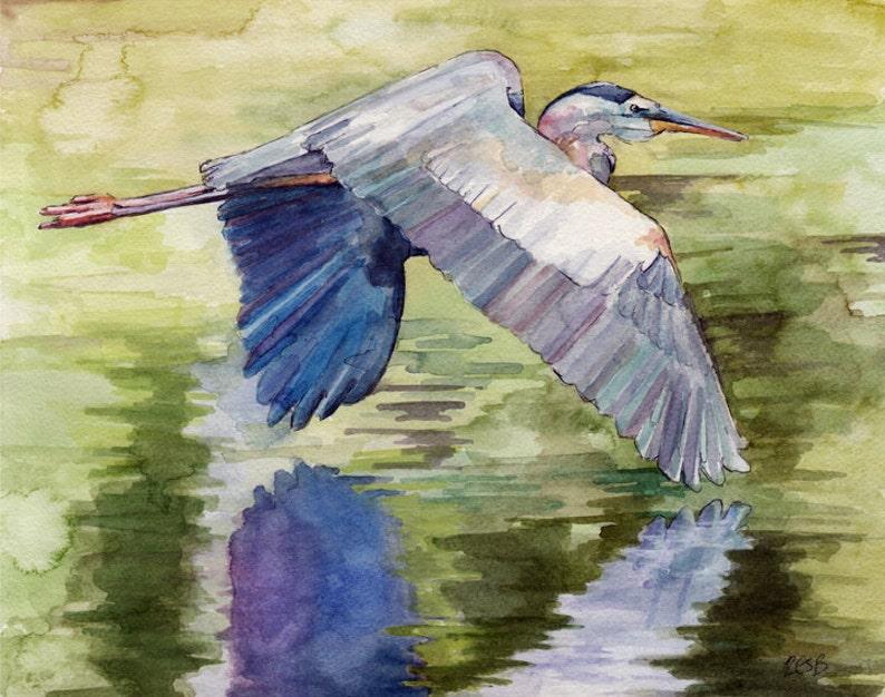 Blue Heron Painting  Print from Original Watercolor Painting image 0