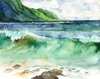 "Watercolor Hawaii Painting - Print titled, ""Green Waves"", Tropical, Kauai, Sea, Ocean, Hawaii, Beach Decor, Watercolor Painting, Print, Wave"