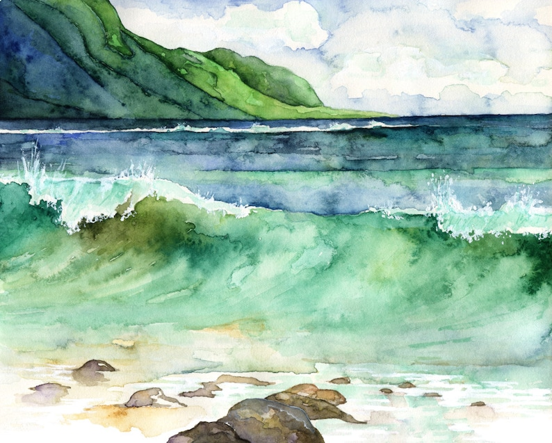 Watercolor Hawaii Painting  Print titled Green image 0