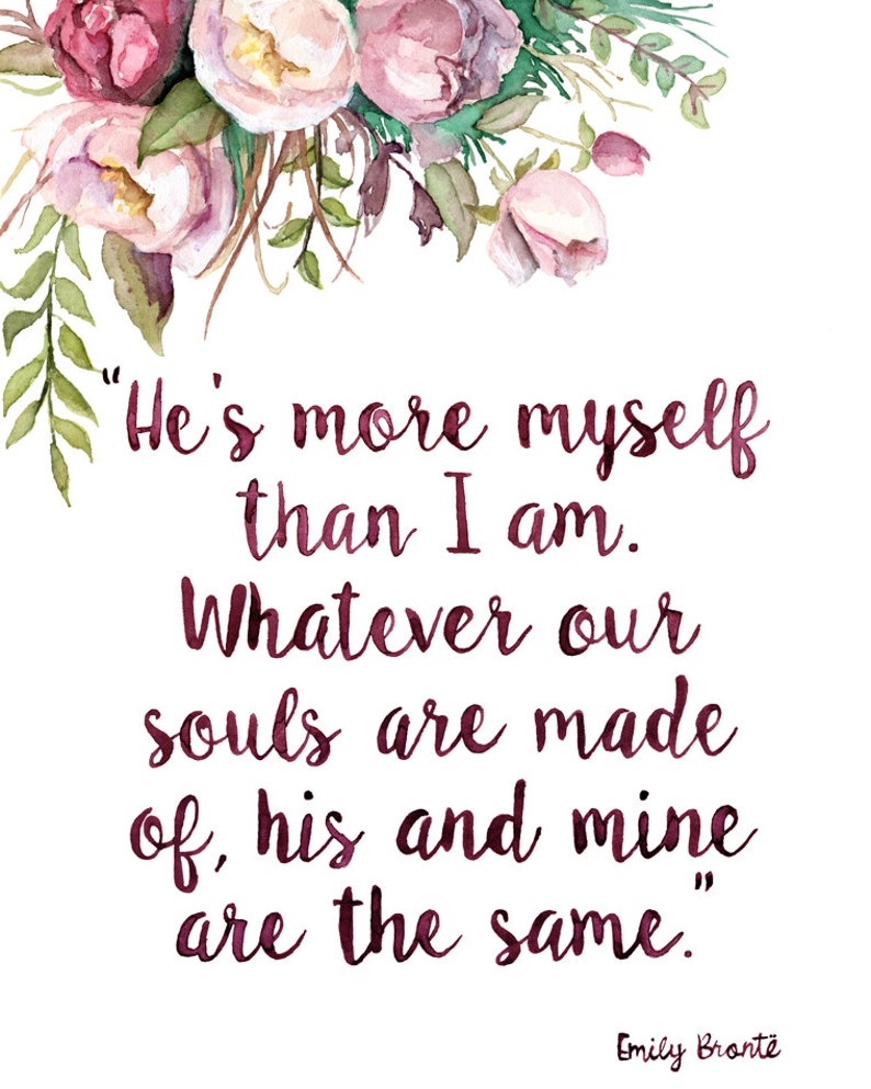 Emily Bronte Quote Painting  Print from Original Watercolor image 1