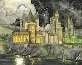 Wizard School Painting - Print of Fantasy Castle, Wizard Castle, Fantasy Art, Magic, Wizarding School, Starry Night, Night Sky