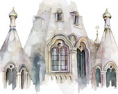 """Cathedral Painting - Print from Original Watercolor Painting, """"Cathedral 1"""", Church, Abstract, Modern Watercolor"""