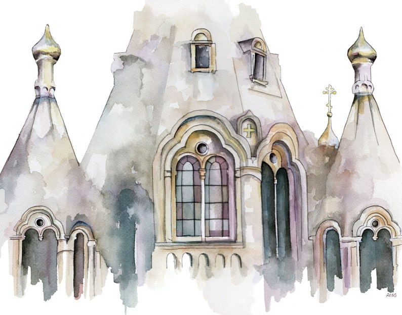 Cathedral Painting  Print from Original Watercolor Painting image 1