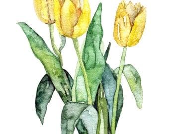 "Tulip Painting - Print from Original Watercolor Painting, ""Yellow Tulips"", Watercolor Flowers, Yellow Flower, Garden"