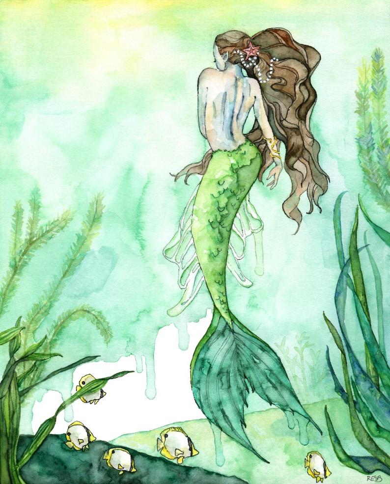 Watercolor Mermaid Painting Mermaid Print Beach Decor image 0