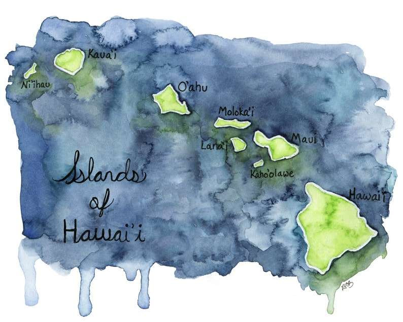Watercolor Hawaiian Islands Print  Painting titled image 0