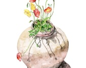 """Poppy Painting - Print from Original Watercolor Painting, """"Potted Poppies"""", Watercolor Flowers, Red Poppies, Botanical"""