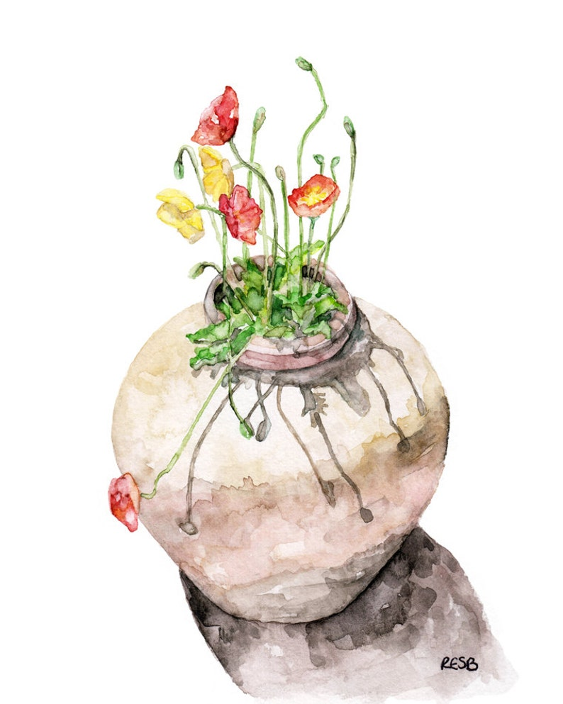 Poppy Painting  Print from Original Watercolor Painting image 0