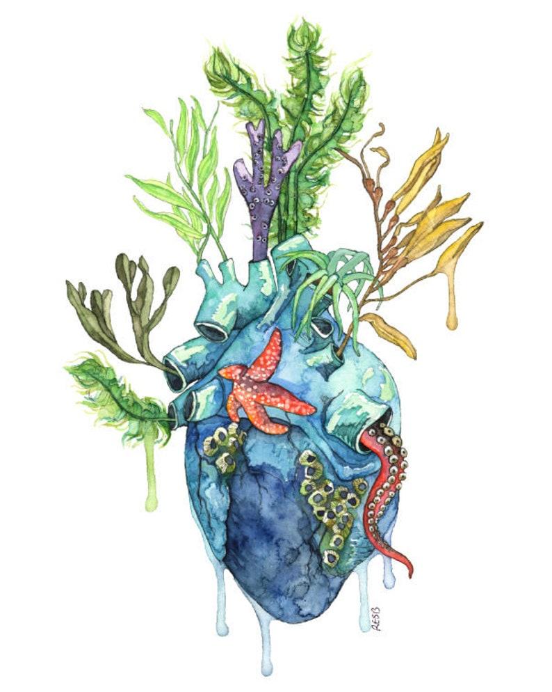 Watercolor Painting Anatomical Heart Anatomical Heart Print image 0