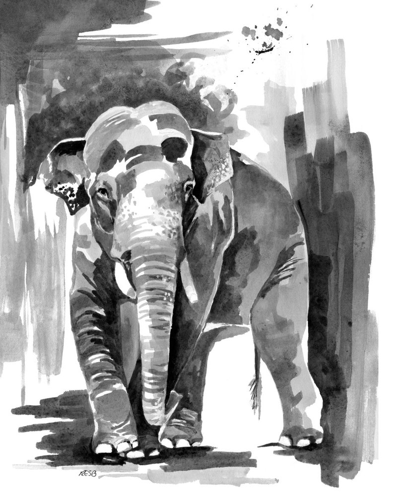 Elephant Print Watercolor  Painting Titled Asian image 0
