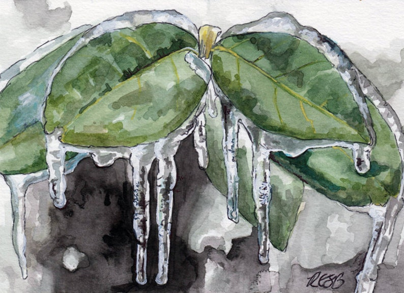 Winter Painting  Print from Original Watercolor Painting image 0