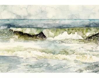 "Ocean Wave Painting - Print from my Original Watercolor Painting, ""High Tide"", Beach Decor, Beach, Blue, Sea, Waves, Ocean Decor"