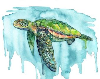 """Sea Turtle Painting, Watercolor Painting, Sea Turtle Print, Sea Turtle Wall Art, Beach Decor, Print, Green Sea Turtle, Print titled, """"Honu"""""""