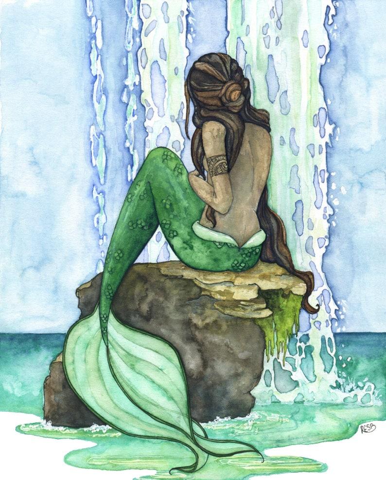 Mermaid Painting Watercolor Painting Mermaid Art Mermaid image 0