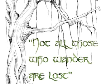 """Wander Quote Painting, Fantasy Art, Tree Art, Tree Print, Jrr, Lord, Not All Those, Rings, Quote Art, Old Tree, Print titled """"Wander"""""""