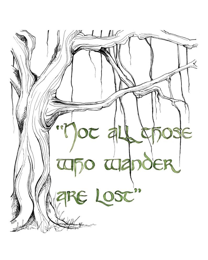 Wander Quote Painting Fantasy Art Tree Art Tree Print Jrr image 0