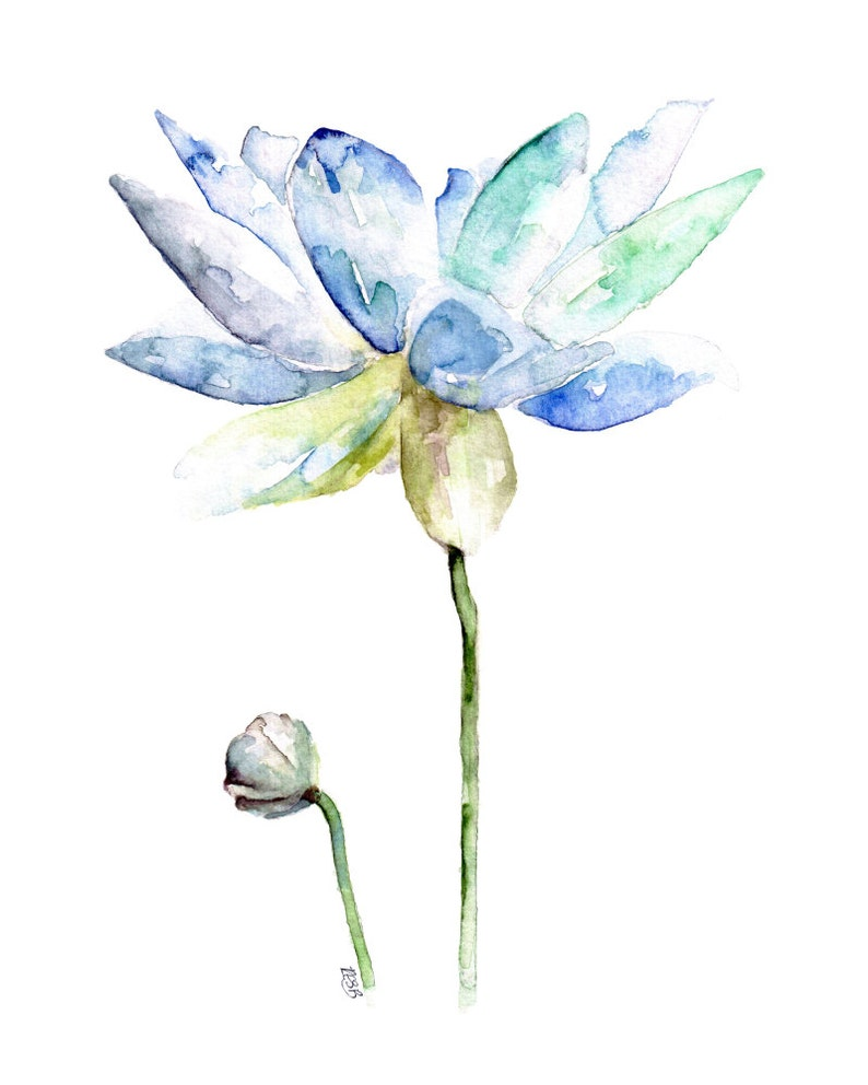 Lotus Painting  Print from Original Watercolor Painting image 0