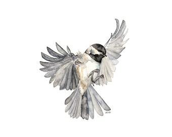 "Bird in Flight Painting - Print from Original Watercolor Painting, ""Freedom"", Chickadee, Songbird, Flying Bird"