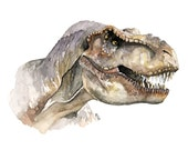 "T-Rex Painting, Dinosaur, Dinosaur Painting, Dinosaur Head, Dinosaur Art, Tyrannosaurus Rex, Trex, T-Rex Art, Printed Titled ""T-Rex"""