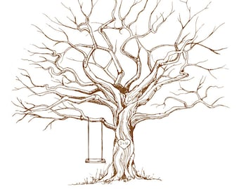 XLARGE CUSTOM Guest Book Tree - Choose Your Tree Color! Sizes 16x20 and up, Wedding Tree, Fingerprint Tree, Wedding Guest Book