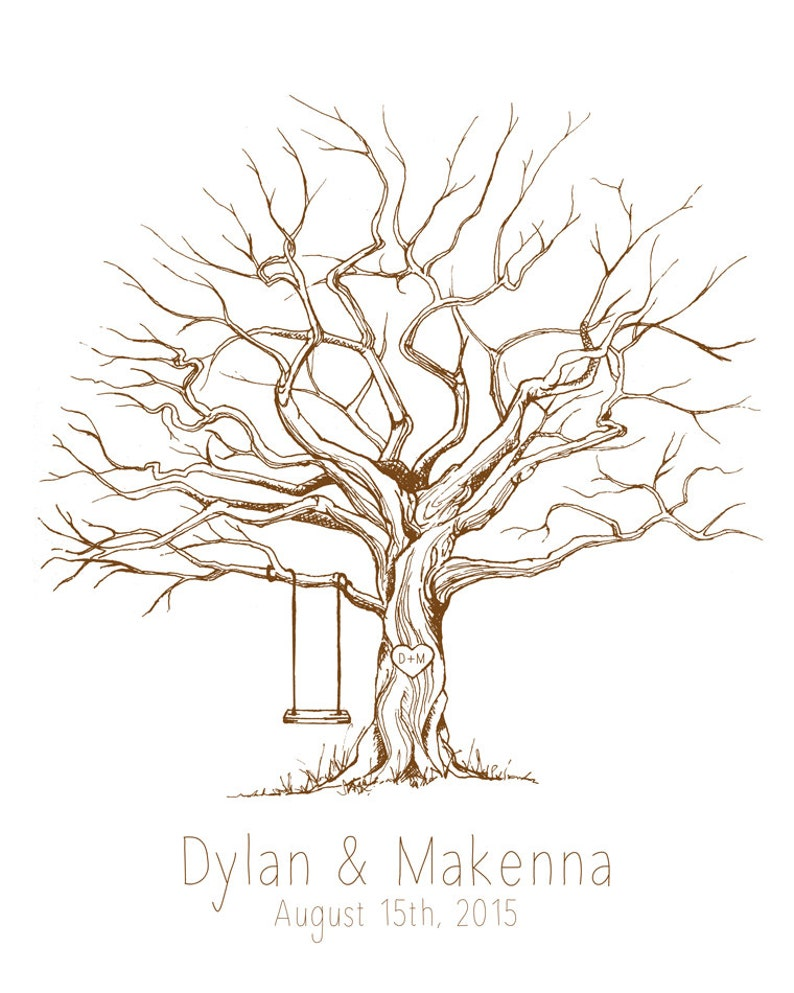 CUSTOM Guest Book Tree  Choose Your Tree Color Print sizes image 0