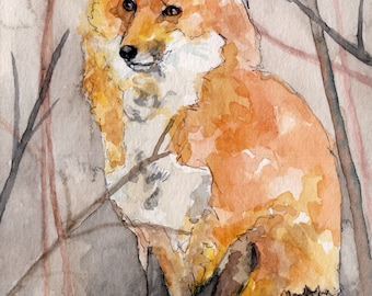 "Fox Painting - Print from Original Watercolor Painting, ""Swift the Fox"", Fox Print, Winter, Red Fox"