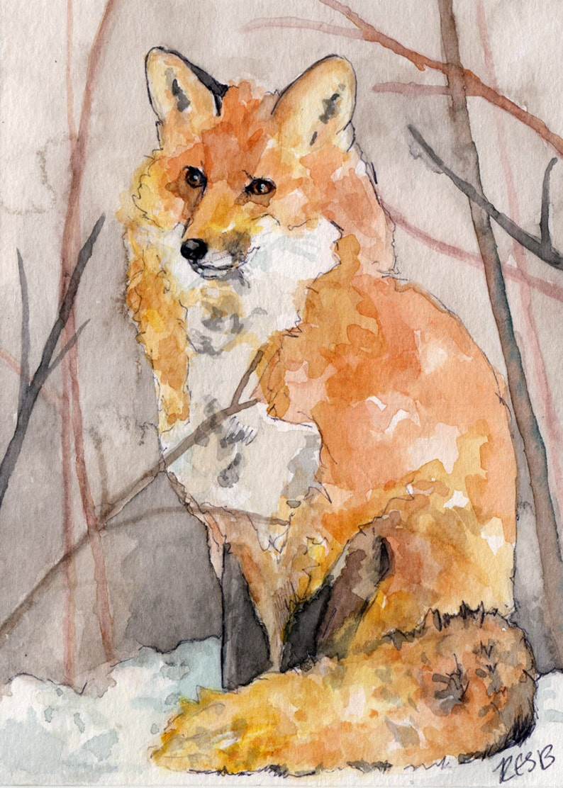 Fox Painting  Print from Original Watercolor Painting image 0