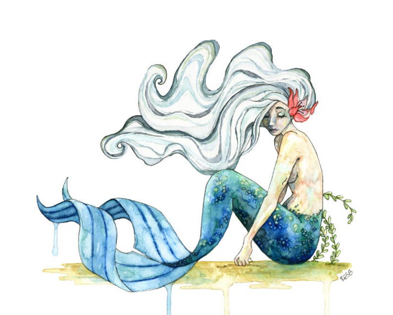Watercolor Mermaid Painting Mermaid Print Mermaid Decor image 0