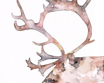 "Reindeer Silhouette Painting - Print titled, ""Blitzen the Reindeer"", Christmas Decor, Reindeer Art, Reindeer Print, Reindeer Painting"