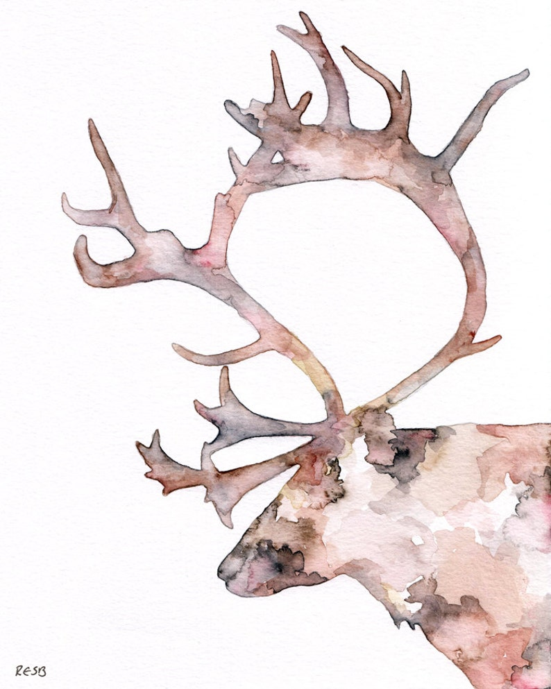 Reindeer Silhouette Painting  Print titled Blitzen the image 0
