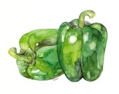"""Bell Pepper Painting - Print from Original Watercolor Painting, """"Bell Peppers"""", Kitchen Decor, Green Pepper, Kitchen Art, Vegetable"""