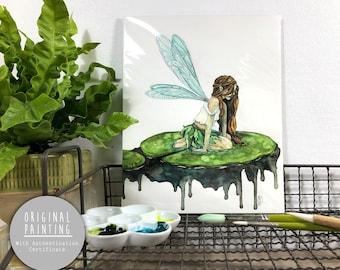 "Original Fairy Watercolor Painting - Painting titled, ""Waterlily Fairy"", Original Art, Original Painting"