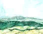 """Abstract Hillside - Print from Original Watercolor Painting, """"Tower HIlls"""", Wall Decor, Watercolor Landscape, Green Abstract"""