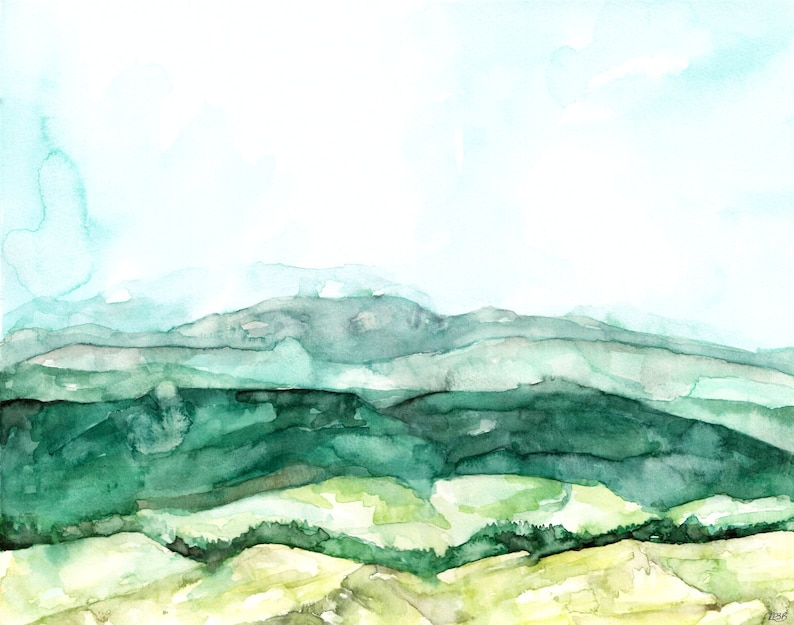Abstract Hillside  Print from Original Watercolor Painting image 1
