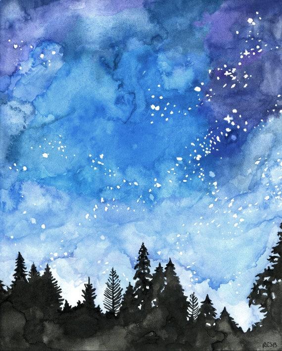 watercolor painting galaxy painting night sky galaxy print etsy