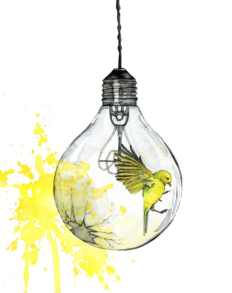 Watercolor Painting Light Bulb Painting Watercolor Print image 0