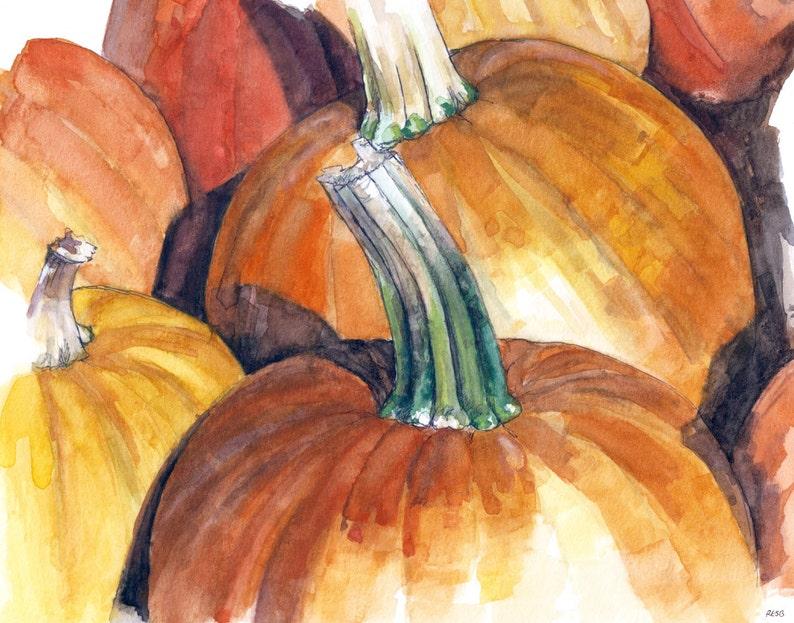 Pumpkin Painting  Print from Original Watercolor image 0