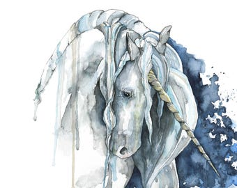 """Unicorn Painting, Watercolor Painting, Unicorn Print, Unicorn Horn, Fantasy Art, Unicorn, Unicorn Art, Print titled, """"Veiled in Starlight"""""""