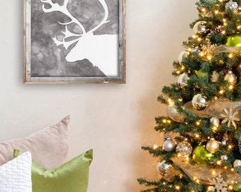 "Grey Reindeer Silhouette Painting - Print from Original Watercolor Painting, ""Christmas Reindeer"", Christmas Decor"