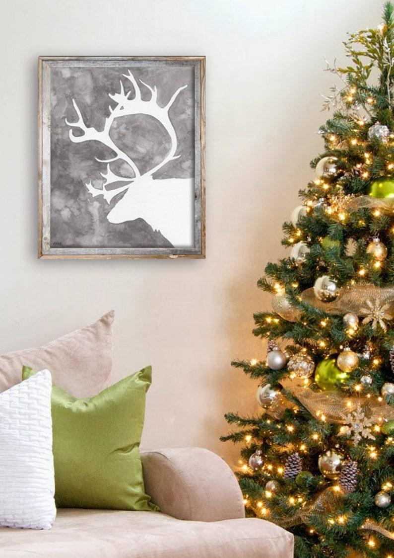 Grey Reindeer Silhouette Painting  Print from Original image 0