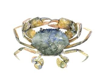 "Blue Crab Painting- Print from Original Watercolor Painting, ""Blue Crab"", Beach Decor, Seashore, Crab, Maryland Crab, Crab Decor"