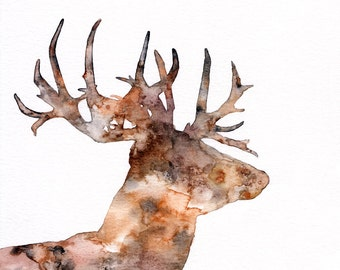 """Deer Silhouette Painting - Print from Original Watercolor Painting, """"The Great Prince of the Forest"""", Stag, Buck, Deer Head"""